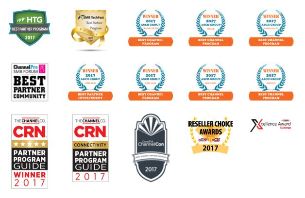 An image of all the awards that Datto has won in 2017.