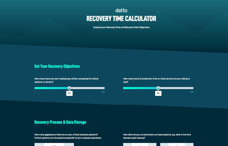 Datto Recovery Time Calculator Screenshot