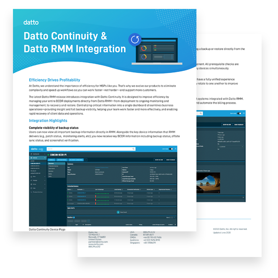 Continuity Integration With RMM
