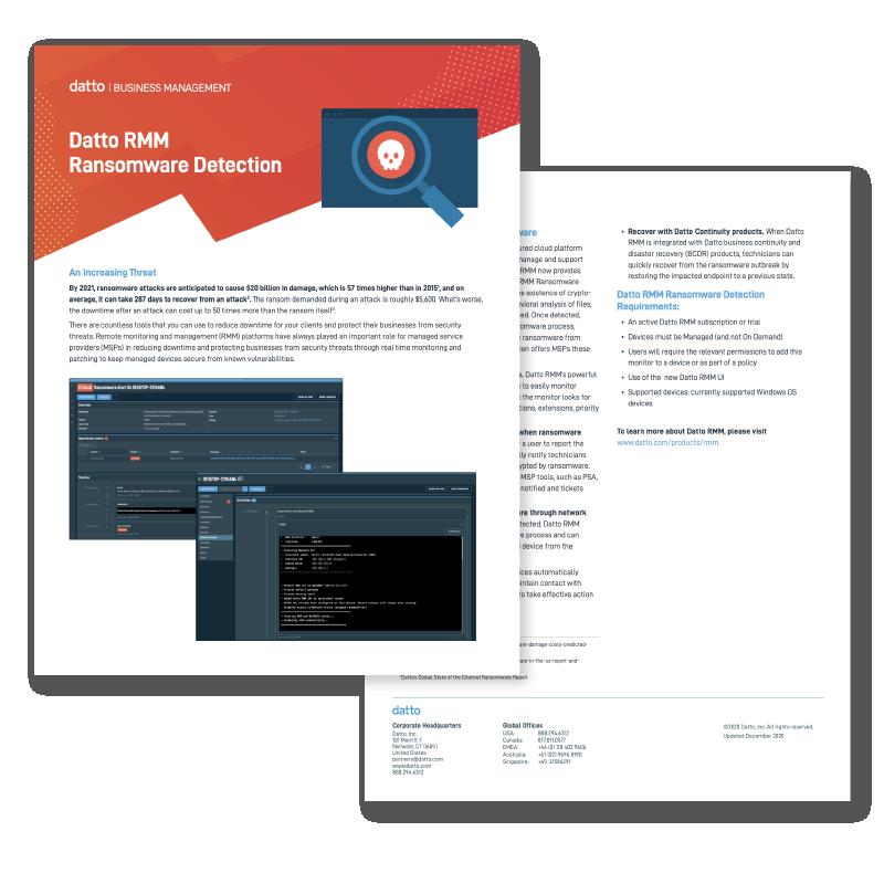 Datto RMM Ransomware Detection Datasheet